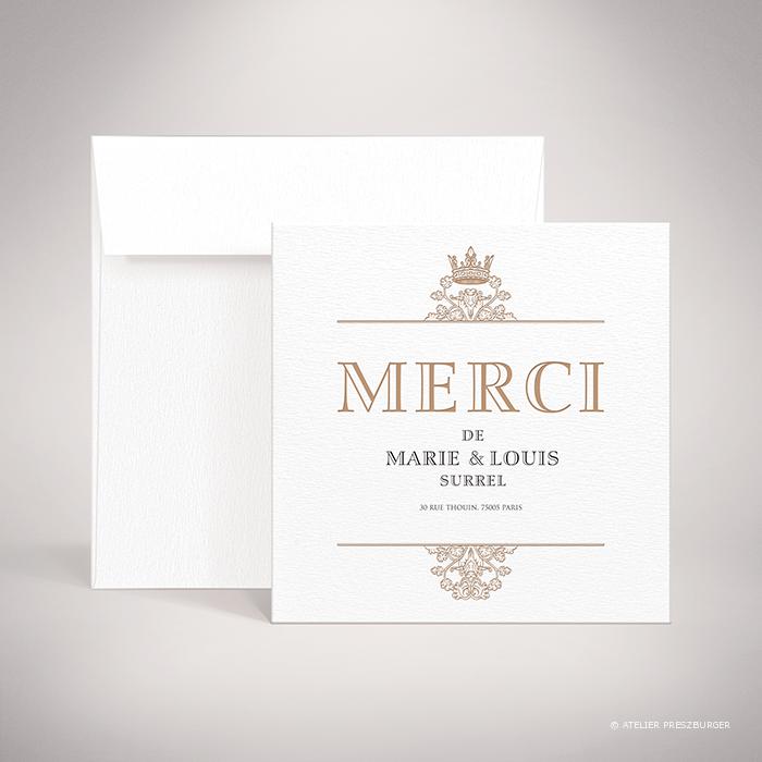 Miollis – Carte de remerciement de mariage classique royal par Julien Preszburger – Photo non contractuelle