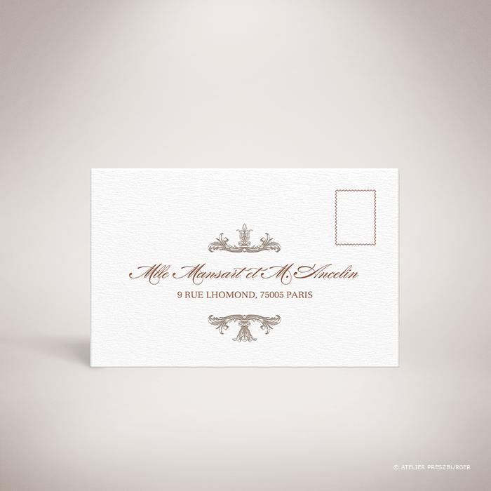 Mansart – Carton réponse recto de mariage classique par Julien Preszburger – Photo non contractuelle