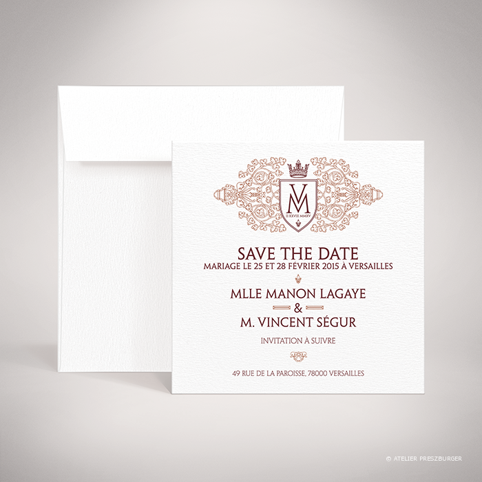 "Lagaye – Carte ""save the date"" de mariage classique royal par Julien Preszburger – Photo non contractuelle"