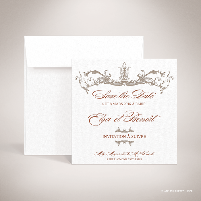 Mansart – Carte save the date de mariage classique baroque par Julien Preszburger – Photo non contractuelle
