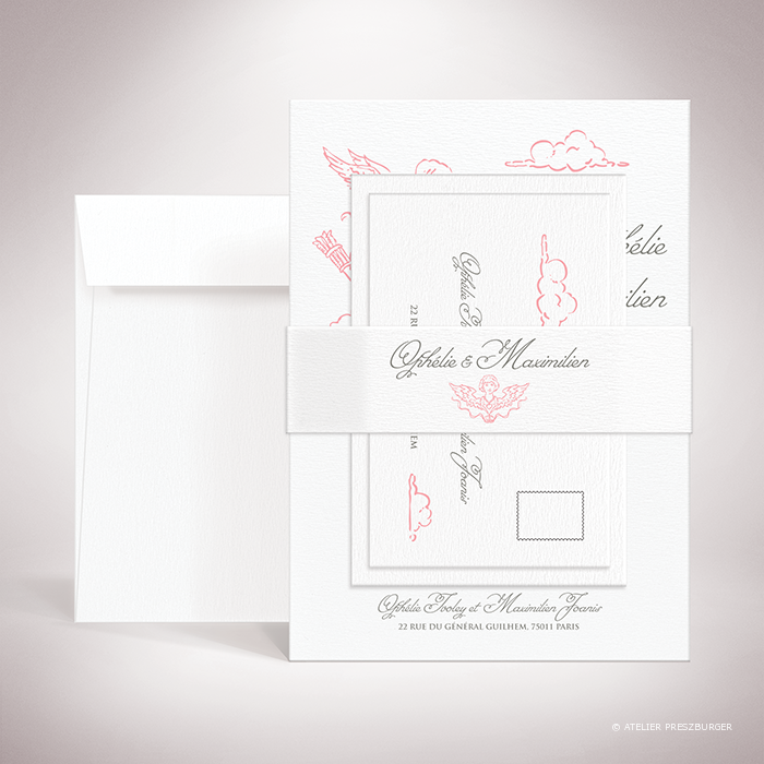 """Ivoley – Bande de maintien """"belly band"""" de mariage sur le thème de Cupidon, ange de l'amour par Julien Preszburger."""