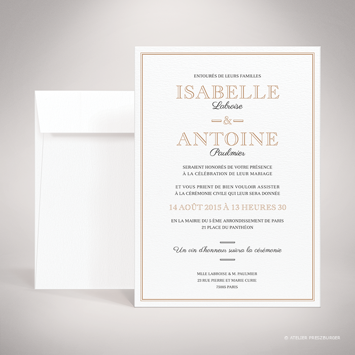 Labroise – Faire-part de mariage classique typographique par Julien Preszburger – Photo non contractuelle