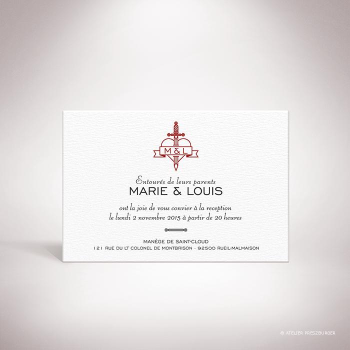 Aumale – Carton invitation de mariage dans un style contemporain sur le thème de l'amour passionné, illustré d'un cœur transpercé d'une dague par Julien Preszburger – Photo non contractuelle