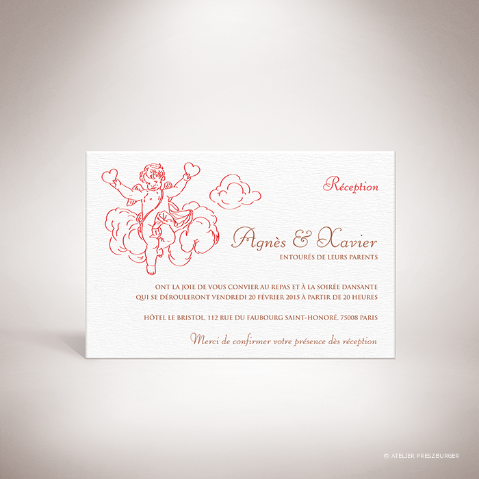 Césac – Carton invitation mariage sur le thème de Cupidon, ange de l'amour par Julien Preszburger – Photo non contractuelle