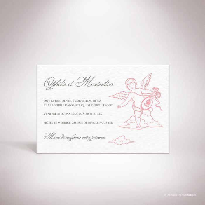 Ivoley – Carton invitation mariage sur le thème de Cupidon, ange de l'amour par Julien Preszburger – Photo non contractuelle