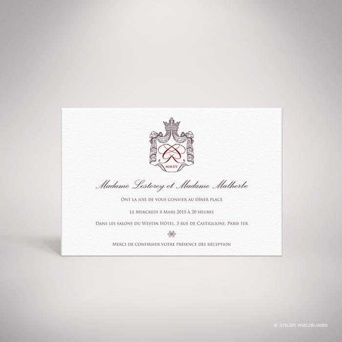 Lestorey – Carton invitation de mariage classique royal par Julien Preszburger – Photo non contractuelle