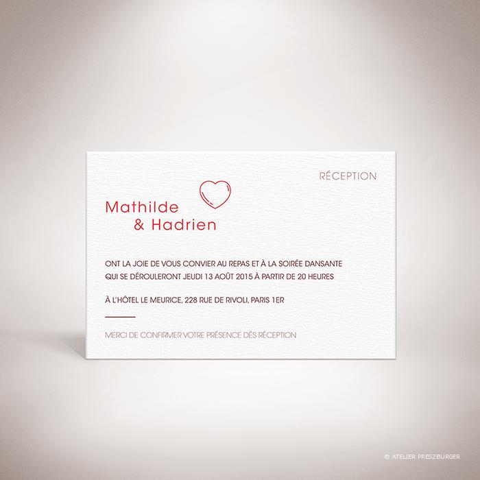 Pérignon – Carton invitation de mariage dans un style contemporain sur le thème de l'amour, illustré d'un cœur unique par Julien Preszburger – Photo non contractuelle
