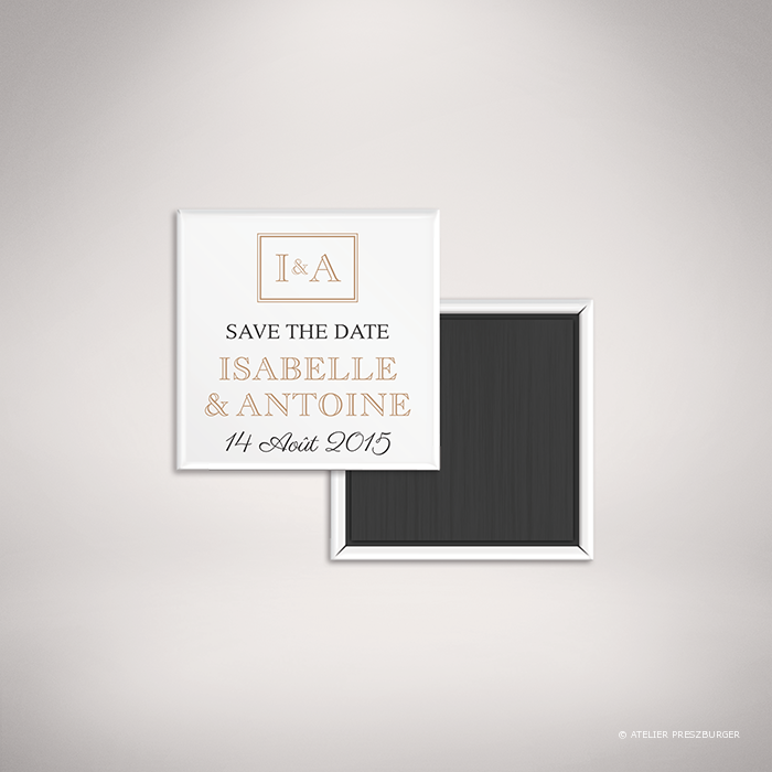 "Labroise – Magnet ""save the date"" de mariage classique typographique par Julien Preszburger – Photo non contractuelle"