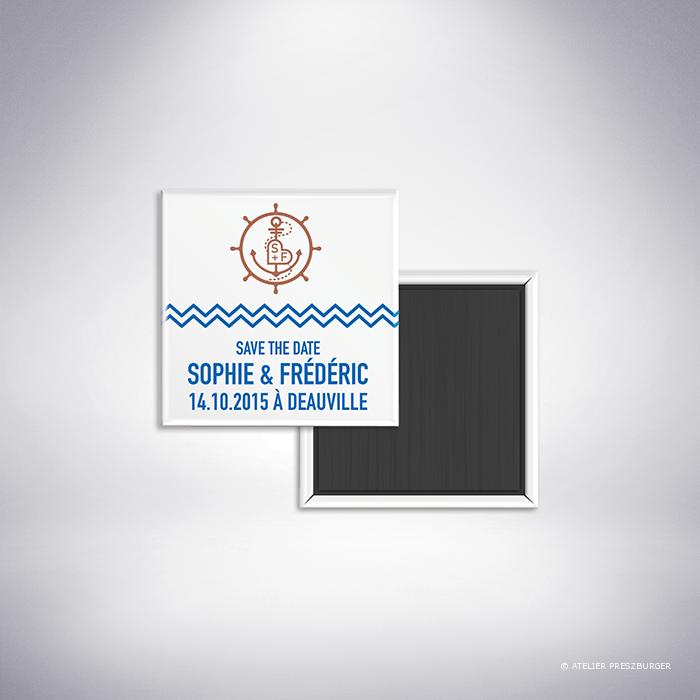 Pérouse – Magnet « save the date » de mariage dans un style contemporain sur le thème la mer, illustré d'une ancre et d'une barre de bateau par Julien Preszburger – Photo non contractuelle
