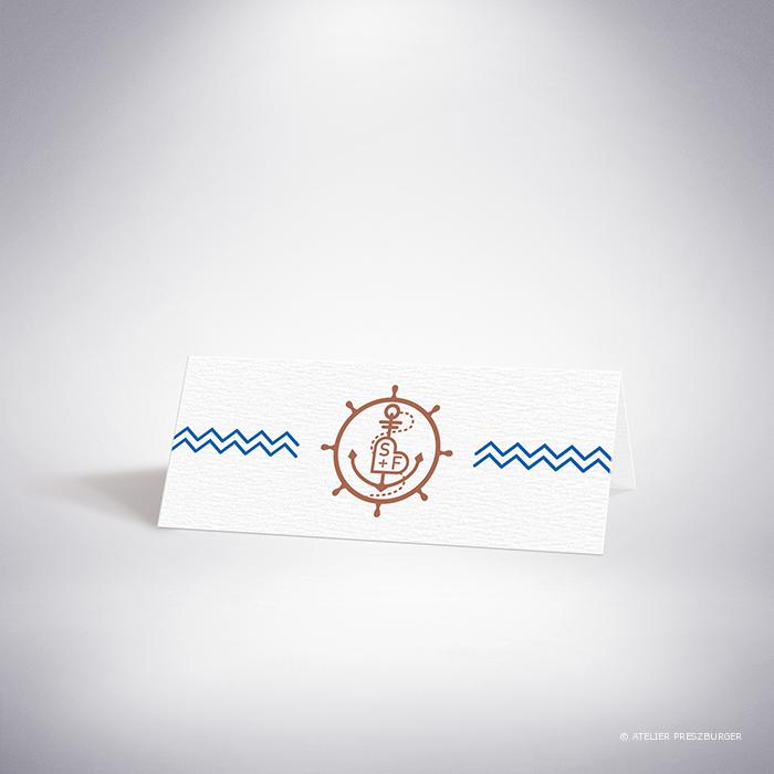 Pérouse – Marque place de mariage dans un style contemporain sur le thème la mer, illustré d'une ancre et d'une barre de bateau par Julien Preszburger – Photo non contractuelle