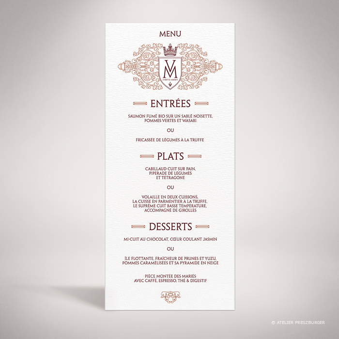 Lagaye – Menu de mariage classique royal par Julien Preszburger – Photo non contractuelle