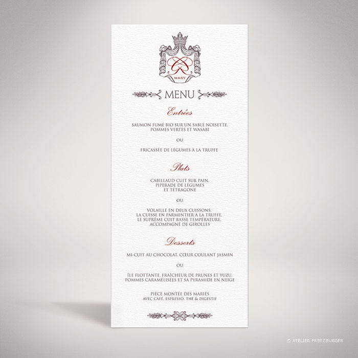 Lestorey – Menu de mariage classique royal par Julien Preszburger – Photo non contractuelle