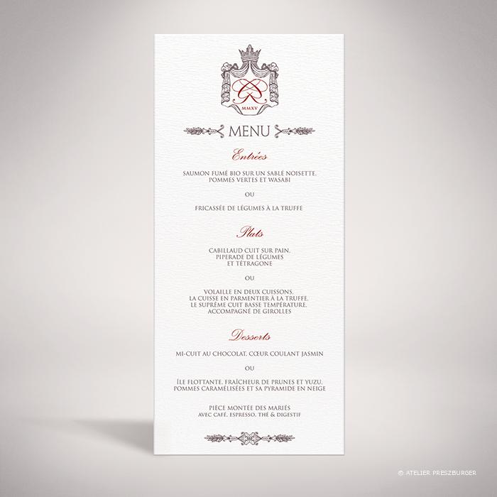 Lestorey – Menu de mariage classique royal par Julien Preszburger – Photo non contractuelle