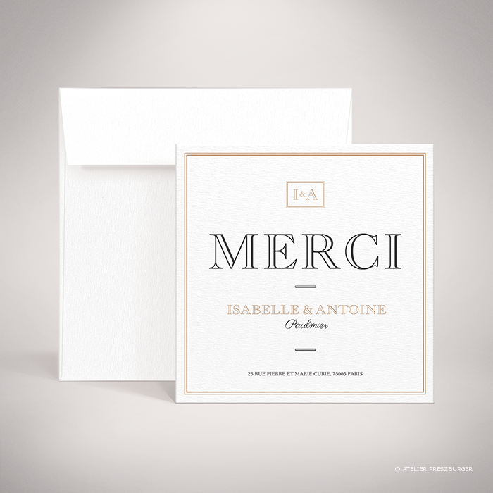 Labroise – Carte de remerciement de mariage classique typographique par Julien Preszburger – Photo non contractuelle