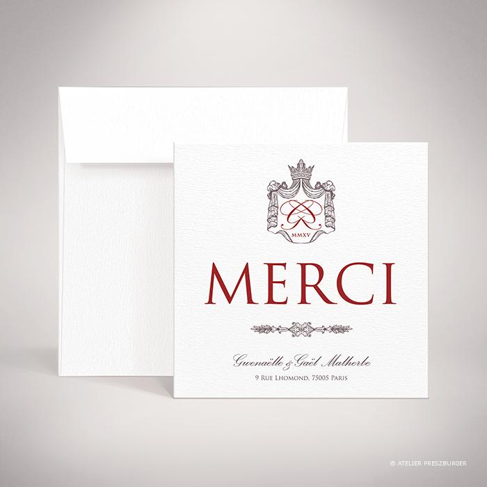 Lestorey – Carte de remerciement de mariage classique royal par Julien Preszburger – Photo non contractuelle