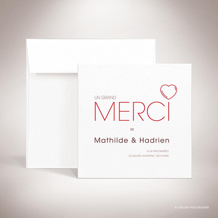 Pérignon – Carte de remerciement de mariage dans un style contemporain sur le thème de l'amour, illustrée d'un cœur uniques par Julien Preszburger  – Photo non contractuelle