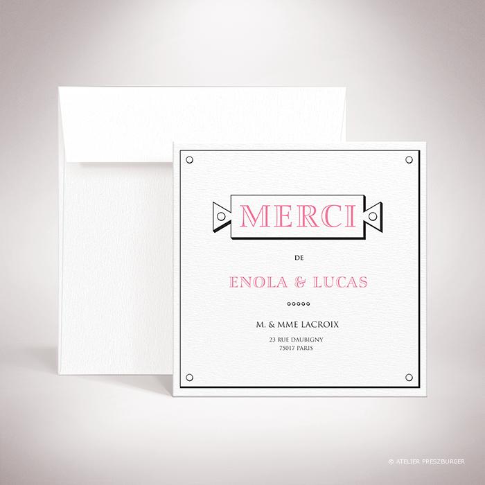 Percy – Carte de remerciement de mariage classique de style antique par Julien Preszburger – Photo non contractuelle