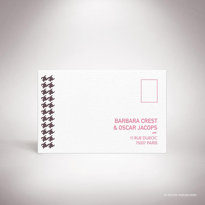 Crest – Carton réponse de mariage dans un style contemporain, illustré d'un motif pied de poule par Julien Preszburger – Photo non contractuelle