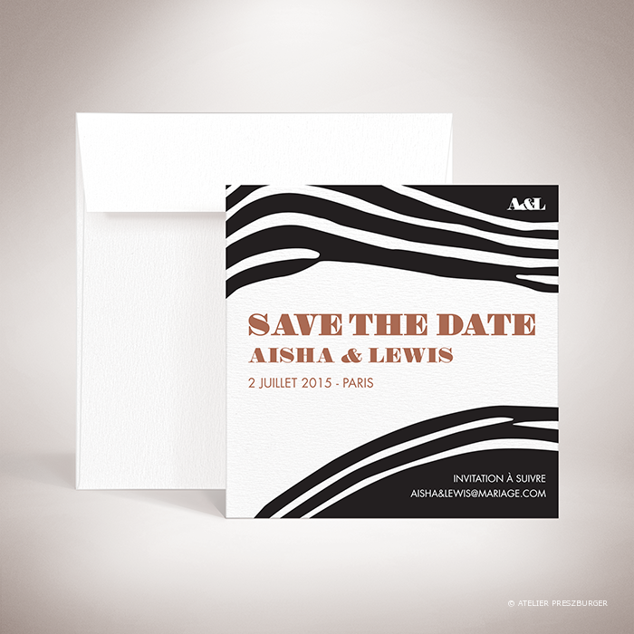 Kenyatta – Carte save the date de mariage dans un style contemporain, illustrée d'un motif zèbre par Julien Preszburger – Photo non contractuelle