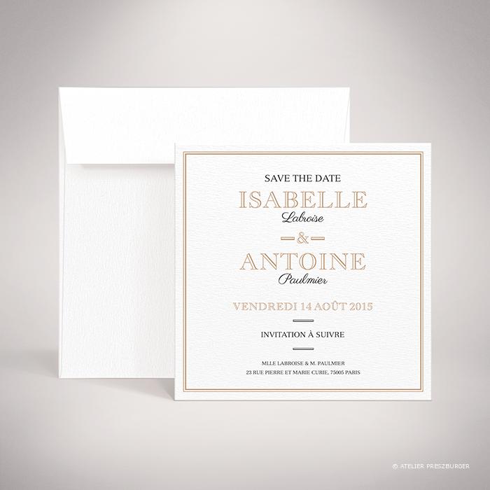 Labroise – Carte save the date de mariage classique typographique par Julien Preszburger – Photo non contractuelle