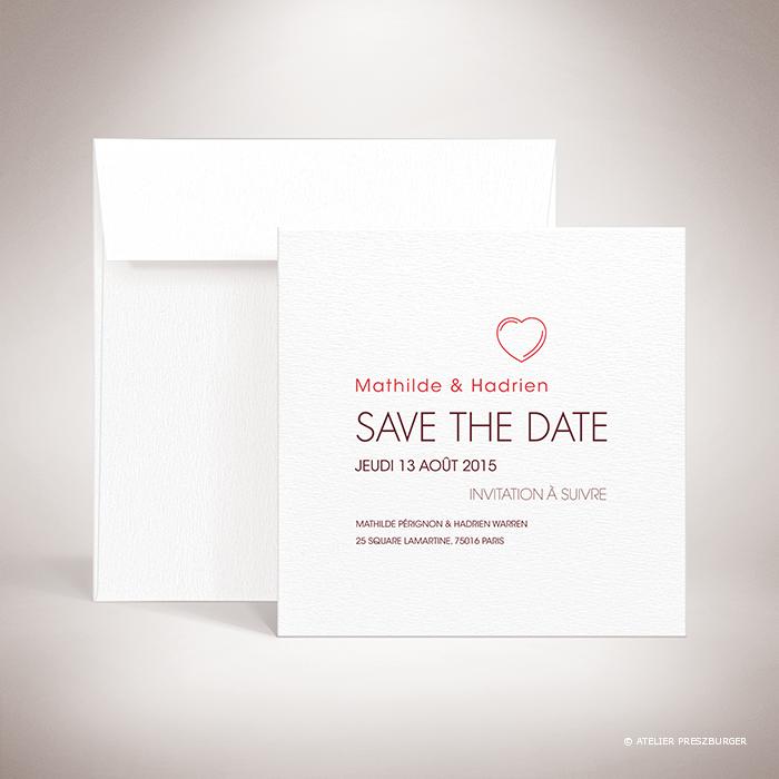 Pérignon – Carte save the date de mariage dans un style contemporain sur le thème de l'amour, illustrée d'un cœur unique par Julien Preszburger  – Photo non contractuelle