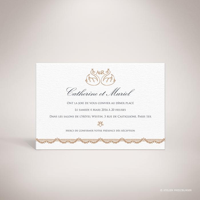Barjac – Carton invitation de mariage classique de style royal, illustré d'un couple de cygnes par Julien Preszburger – Photo non contractuelle