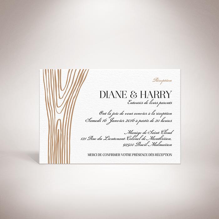 Holz – Carton invitation de mariage dans un style contemporain, décoré d'une écorce d'arbre par Julien Preszburger – Photo non contractuelle