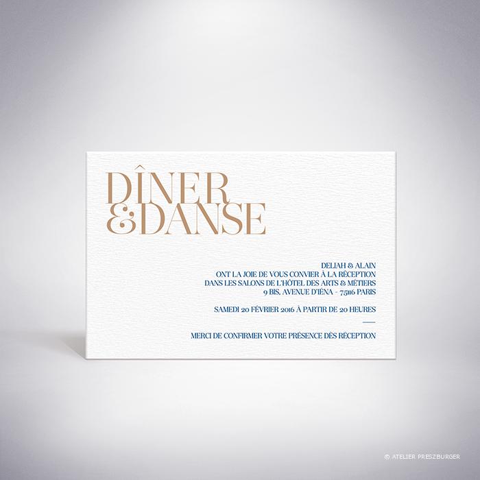 Launay – Carton invitation de mariage classique typographique par Julien Preszburger – Photo non contractuelle