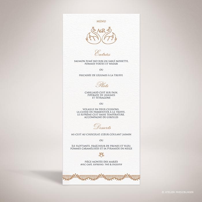 Barjac – Menu de mariage classique de style royal, illustré d'un couple de cygnes par Julien Preszburger – Photo non contractuelle