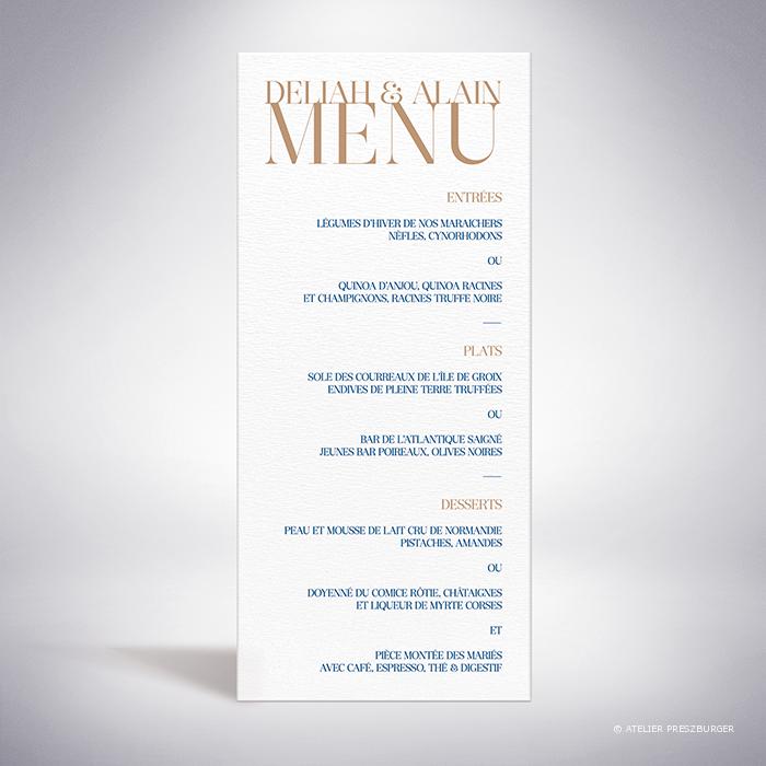 Launay – Menu de mariage classique typographique par Julien Preszburger – Photo non contractuelle