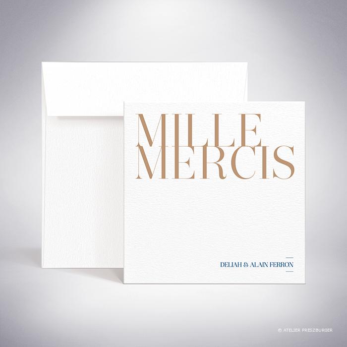 Launay – Carte de remerciement de mariage classique typographique par Julien Preszburger – Photo non contractuelle