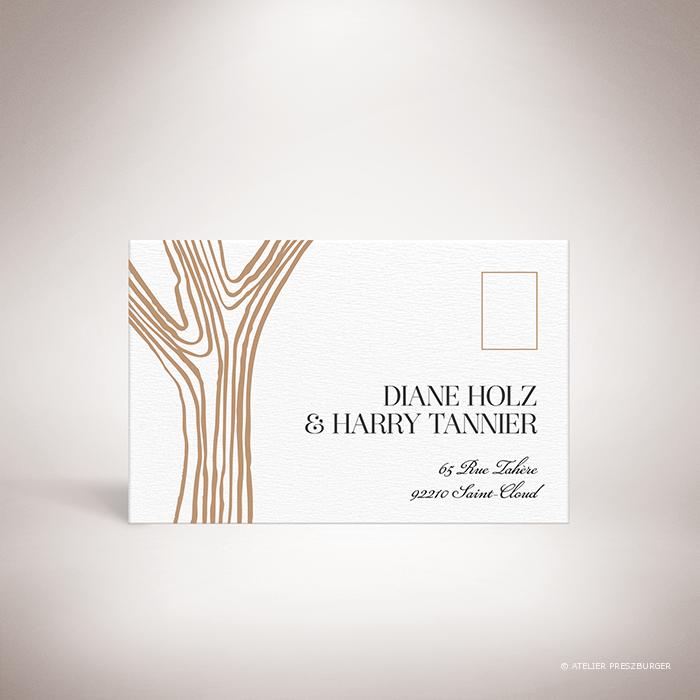 Holz – Carton réponse de mariage dans un style contemporain, décoré d'une écorce d'arbre par Julien Preszburger – Photo non contractuelle