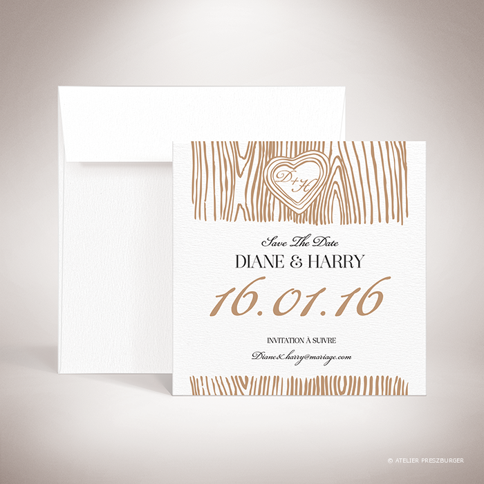 Holz – Carte « save the date » de mariage dans un style contemporain, décorée d'une écorce d'arbre et gravée d'un cœur avec un monogramme par Julien Preszburger – Photo non contractuelle