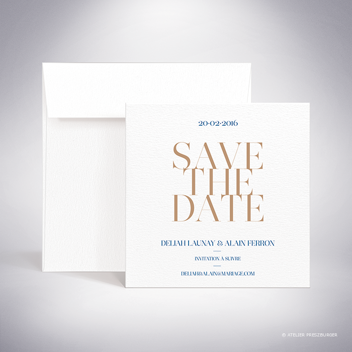 "Launay – Carte ""save the date"" de mariage classique typographique par Julien Preszburger – Photo non contractuelle"