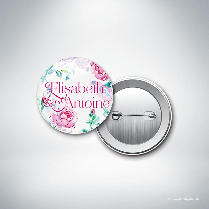 Méiland – Badge de mariage de style romantique, sur le thème des roses, illustré à l'aquarelle par Julien Preszburger – Photo non contractuelle