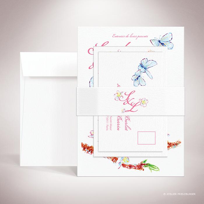 Burlat – Bande de maintien « belly band » de mariage de style bucolique, sur le thème du printemps, illustré de fleurs de cerisier et de papillons à l'aquarelle par Julien Preszburger – Photo non contractuelle