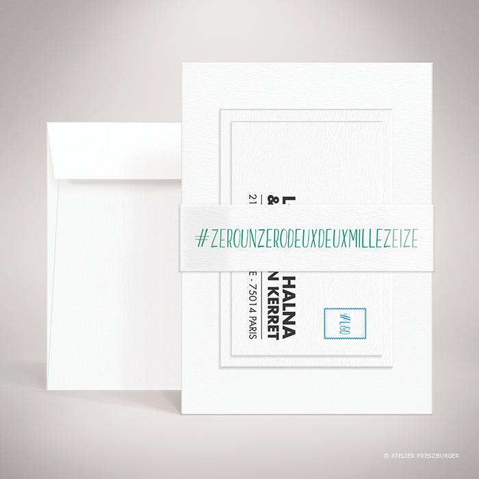 Halna – Bande de maintien « belly band » de mariage contemporain de style typographique sur le thème du #Hashtag et des réseaux sociaux par Julien Preszburger – Photo non contractuelle