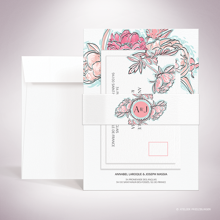 Laroque – Bande de maintien « belly band » de mariage de style floral, sur le thème du printemps, illustrée de pivoines par Julien Preszburger – Photo non contractuelle
