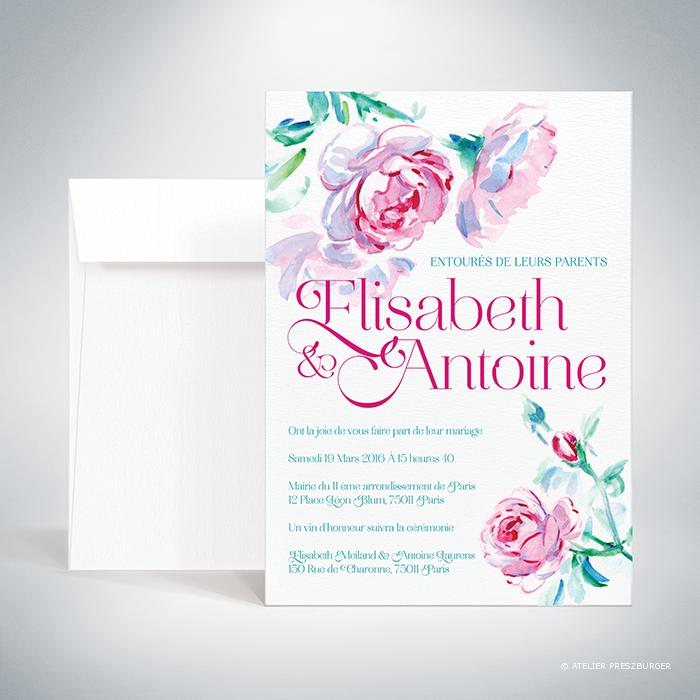 Méiland – Faire-part de mariage de style romantique, sur le thème des roses, illustré à l'aquarelle par Julien Preszburger – Photo non contractuelle