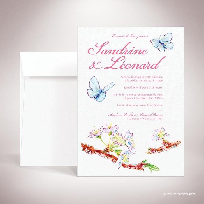 Burlat – Faire-part de mariage de style bucolique, sur le thème du printemps, illustré de fleurs de cerisier et de papillons à l'aquarelle par Julien Preszburger – Photo non contractuelle
