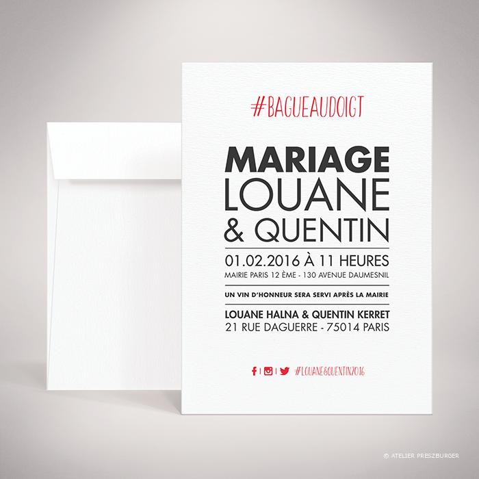 Halna – Faire-part de mariage contemporain de style typographique sur le thème du #Hashtag et des réseaux sociaux par Julien Preszburger – Photo non contractuelle
