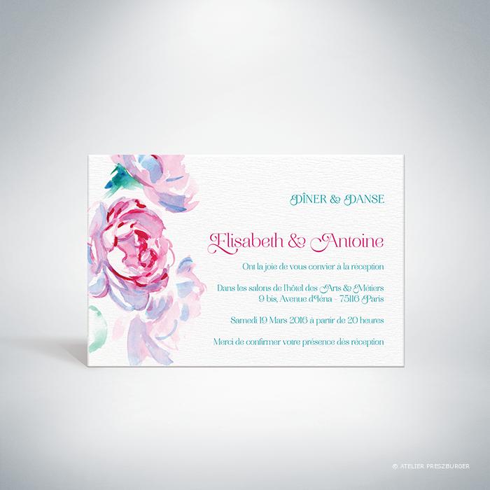 Méiland – Carton invitation de mariage de style romantique, sur le thème des roses, illustré à l'aquarelle par Julien Preszburger – Photo non contractuelle