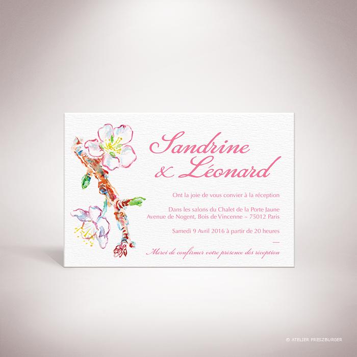 Burlat – Carton invitation de mariage de style bucolique, sur le thème du printemps, illustré de fleurs de cerisier et de papillons à l'aquarelle par Julien Preszburger – Photo non contractuelle