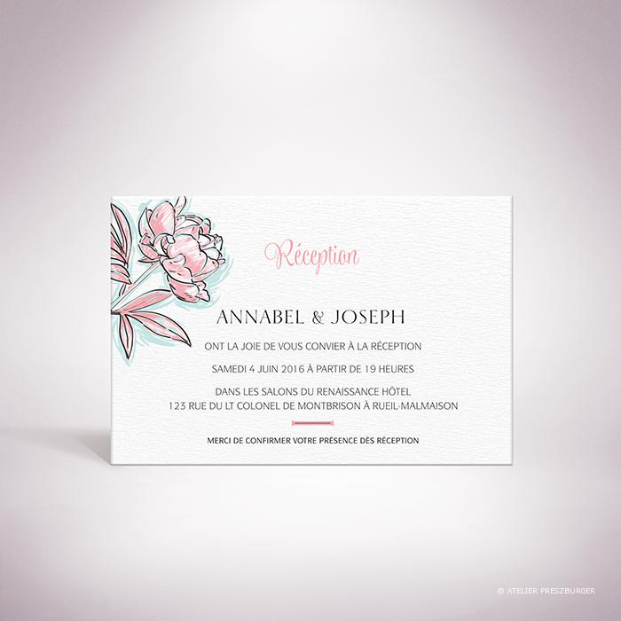 Laroque – Carton invitation de mariage de style floral, sur le thème du printemps, illustré de pivoines par Julien Preszburger – Photo non contractuelle