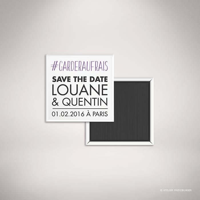 Halna – Magnet « save the date » de mariage contemporain de style typographique sur le thème du #Hashtag et des réseaux sociaux par Julien Preszburger – Photo non contractuelle