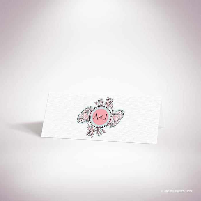 Laroque – Marque place de mariage de style floral, sur le thème du printemps, illustré de pivoines par Julien Preszburger – Photo non contractuelle