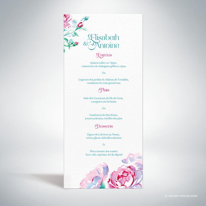 Méiland – Menu de mariage de style romantique, sur le thème des roses, illustré à l'aquarelle par Julien Preszburger – Photo non contractuelle