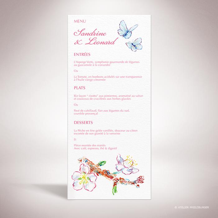 Burlat – Menu de mariage de style bucolique, sur le thème du printemps, illustré de fleurs de cerisier et de papillons à l'aquarelle par Julien Preszburger – Photo non contractuelle