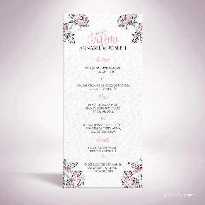 Laroque – Menu de mariage de style floral, sur le thème du printemps, illustré de pivoines par Julien Preszburger – Photo non contractuelle