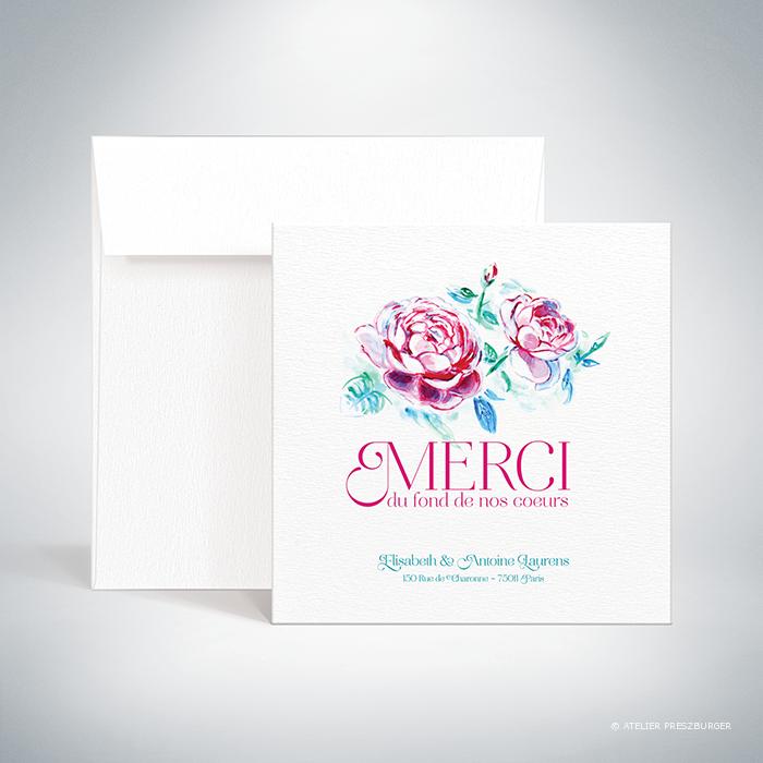 Méiland – Carte de remerciement de mariage de style romantique, sur le thème des roses, illustrée à l'aquarelle par Julien Preszburger – Photo non contractuelle